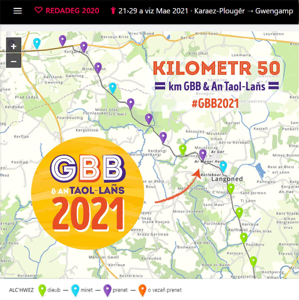 km 50 Ar Redadeg prenet gant GBB2021